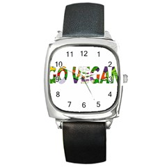 Go Vegan Square Metal Watch by Valentinaart