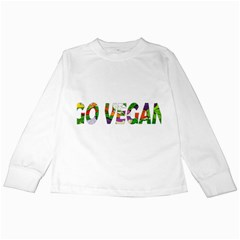 Go Vegan Kids Long Sleeve T Shirts by Valentinaart