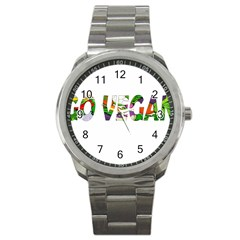 Go Vegan Sport Metal Watch by Valentinaart