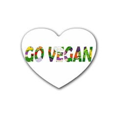Go Vegan Rubber Coaster (heart)  by Valentinaart