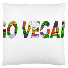 Go Vegan Large Cushion Case (one Side) by Valentinaart