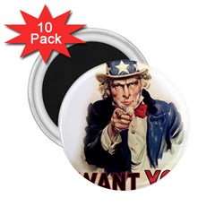 Uncle Sam 2 25  Magnets (10 Pack)  by Valentinaart