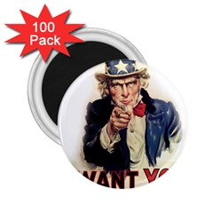 Uncle Sam 2 25  Magnets (100 Pack)  by Valentinaart