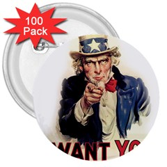 Uncle Sam 3  Buttons (100 Pack)  by Valentinaart