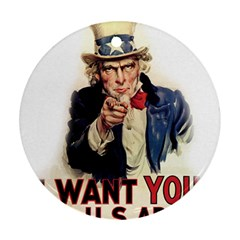 Uncle Sam Round Ornament (two Sides) by Valentinaart