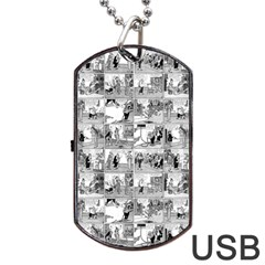 Old Comic Strip Dog Tag Usb Flash (one Side) by Valentinaart
