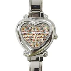 Old Comic Strip Heart Italian Charm Watch by Valentinaart