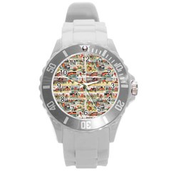 Old Comic Strip Round Plastic Sport Watch (l) by Valentinaart