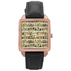 Old Comic Strip Rose Gold Leather Watch  by Valentinaart