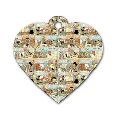 Old Comic Strip Dog Tag Heart (two Sides) by Valentinaart