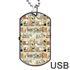 Old Comic Strip Dog Tag Usb Flash (two Sides) by Valentinaart