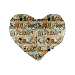 Old Comic Strip Standard 16  Premium Flano Heart Shape Cushions by Valentinaart