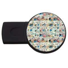 Old Comic Strip Usb Flash Drive Round (4 Gb) by Valentinaart