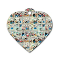 Old Comic Strip Dog Tag Heart (one Side) by Valentinaart