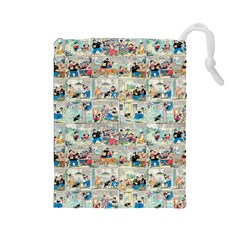 Old Comic Strip Drawstring Pouches (large)  by Valentinaart