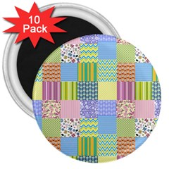 Old Quilt 3  Magnets (10 Pack)  by Valentinaart