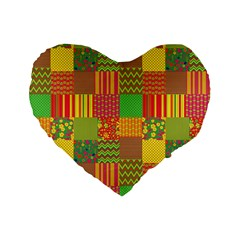 Old Quilt Standard 16  Premium Flano Heart Shape Cushions by Valentinaart