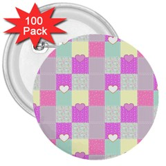 Old Quilt 3  Buttons (100 Pack)  by Valentinaart