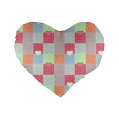 Patchwork Standard 16  Premium Heart Shape Cushions by Valentinaart