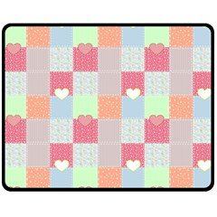 Patchwork Double Sided Fleece Blanket (medium)  by Valentinaart
