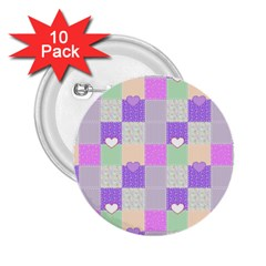 Patchwork 2 25  Buttons (10 Pack)  by Valentinaart