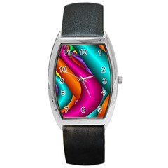 Fractal Wallpaper Color Pipes Barrel Style Metal Watch by Amaryn4rt