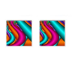 Fractal Wallpaper Color Pipes Cufflinks (square) by Amaryn4rt