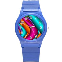 Fractal Wallpaper Color Pipes Round Plastic Sport Watch (s) by Amaryn4rt