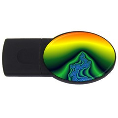 Fractal Wallpaper Water And Fire Usb Flash Drive Oval (2 Gb) by Amaryn4rt