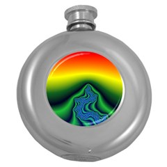 Fractal Wallpaper Water And Fire Round Hip Flask (5 Oz) by Amaryn4rt