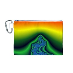 Fractal Wallpaper Water And Fire Canvas Cosmetic Bag (m) by Amaryn4rt