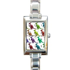 Multicolor Dinosaur Background Rectangle Italian Charm Watch by Amaryn4rt