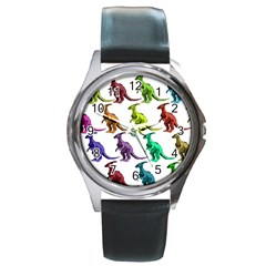 Multicolor Dinosaur Background Round Metal Watch by Amaryn4rt