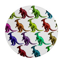 Multicolor Dinosaur Background Ornament (round) by Amaryn4rt