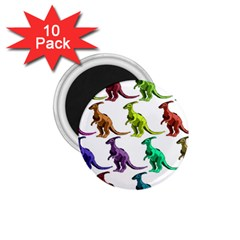Multicolor Dinosaur Background 1 75  Magnets (10 Pack)  by Amaryn4rt