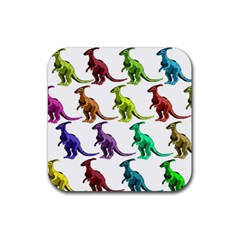 Multicolor Dinosaur Background Rubber Square Coaster (4 Pack)  by Amaryn4rt