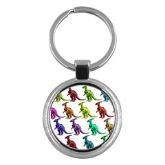 Multicolor Dinosaur Background Key Chains (round)  by Amaryn4rt