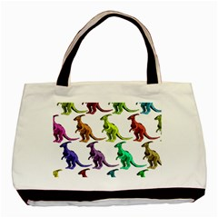 Multicolor Dinosaur Background Basic Tote Bag by Amaryn4rt