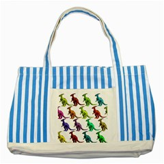 Multicolor Dinosaur Background Striped Blue Tote Bag by Amaryn4rt