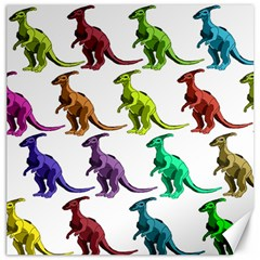Multicolor Dinosaur Background Canvas 12  X 12   by Amaryn4rt