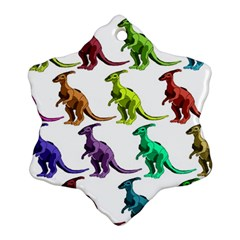 Multicolor Dinosaur Background Snowflake Ornament (two Sides) by Amaryn4rt