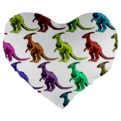 Multicolor Dinosaur Background Large 19  Premium Heart Shape Cushions by Amaryn4rt