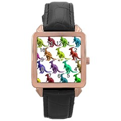 Multicolor Dinosaur Background Rose Gold Leather Watch  by Amaryn4rt
