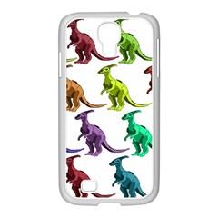 Multicolor Dinosaur Background Samsung Galaxy S4 I9500/ I9505 Case (white)