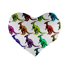 Multicolor Dinosaur Background Standard 16  Premium Flano Heart Shape Cushions by Amaryn4rt