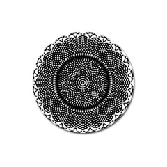 Black Lace Kaleidoscope On White Magnet 3  (round) by Amaryn4rt