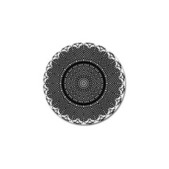 Black Lace Kaleidoscope On White Golf Ball Marker by Amaryn4rt