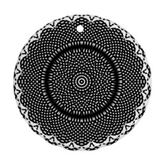 Black Lace Kaleidoscope On White Round Ornament (two Sides) by Amaryn4rt