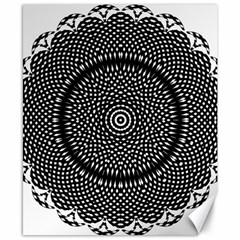 Black Lace Kaleidoscope On White Canvas 8  X 10  by Amaryn4rt