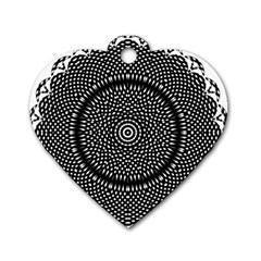 Black Lace Kaleidoscope On White Dog Tag Heart (one Side) by Amaryn4rt